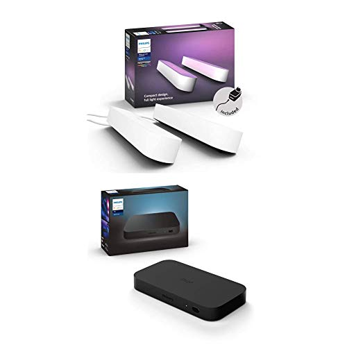 Philips Hue Play HDMI Sync Box Caja de sincronización para TV / PC y Luces Philips Hue + Philips Hue Play Barra de luz Regulable, Blanca
