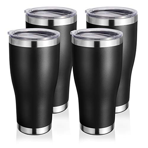 DOMICARE 30oz 4 pack Tumblers Bulk with Lid, Stainless Steel Insulated Travel Mug, Double Wall Coffee Cup, Durable Powder Coated Insulated Tumbler Cup for Ice and Hot Drink (Black)