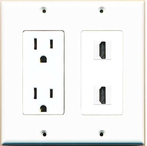 RiteAV - 15 Amp Power Outlet 2 Port HDMI Decorative Type Wall Plate - White