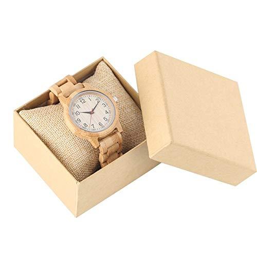 FMXKSW Damenuhr, Natural All Bamboo Wood Clock Uhren Quarz Damen Kleid Uhr Holz Armreif, Vollholz mit Box
