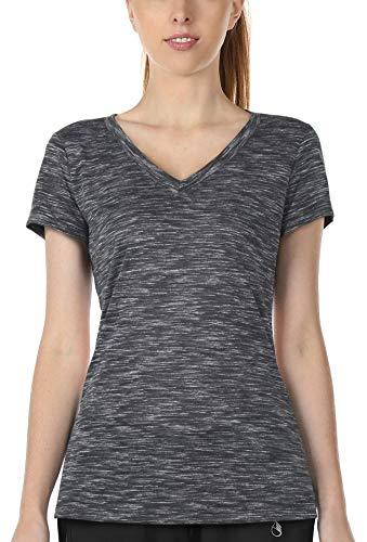 icyzone Damen Sport T-Shirt V-Ausschnitt - Laufshirt Kurzarm Top Trainingsshirt Fitness Oberteile Sportbekleidung (XL, Black)