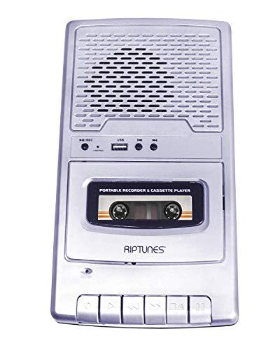 Riptunes Portable Cassette Recorder Player, Tape to USB Audio Music Digital Converter, Retro Classroom Shoebox Cassette Player and Recorder USB Player, Cassette-MP3 Converter with Built-in Microphone