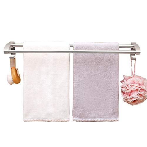 Cuarto de baño baño toalla de perforación libre espacio aluminio doble poste toallero doble poste toallero toalla fuerte barra Toalleros de barra