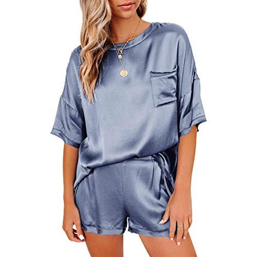 Sroomcla Pijamas de satén de color liso para mujer Conjunto de ropa de manga corta pijamas de satén para mujer Conjuntos de blusas y pantalones cortos de manga corta con cuello redondo de color candid