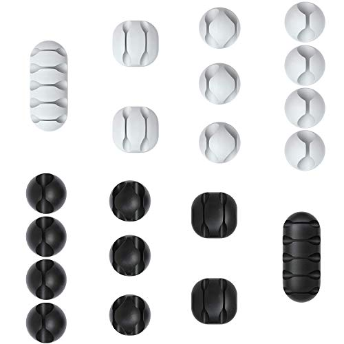 CFFN 20x Kabelclips zur Kabelbefestigung, elastisch & selbstklebend I Kabel Befestigungsclips, Kabelhalter für, Kabelhalter für Kabelmanagement, flexibel, weiß und Schwarz (20)