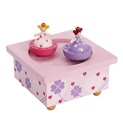 TROUSSELIER - Sœurs Princesses - Boîte à Musique Dancing - Idéal Cadeau de Naissance - 2 Figurines Amovibles - Fonctionnement Simple - Musique Beautifull Dreamer - Colori Rose
