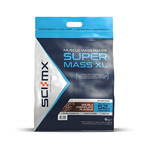SCI-MX Nutrition Super Mass XL, Protein Powder Mass Size Shake, 6 kg, Double Chocolate, 20 Servings, Units
