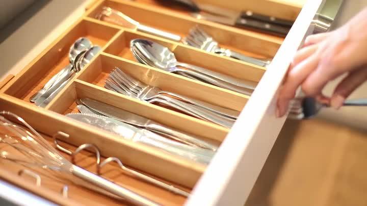 41NJO Wwd+L Relaxdays Besteckkasten Bambus, ausziehbarer Besteckeinsatz als Küchenorganizer, Schubladeneinsatz 33,5x29-48x5 cm…