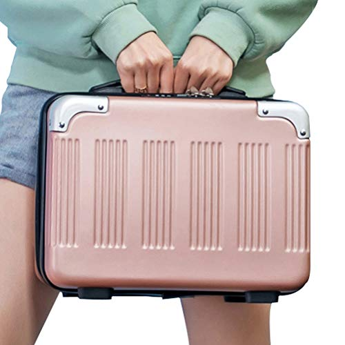 Lzttyee 14inch Small Hard Shell Cosmetic Case Travel Hand Luggage Portable Carrying Makeup Case Suitcase (Rose gold)