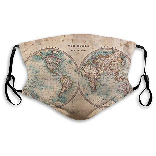 World Map Face Clothing Neck Gaiter Mask ¨C Non Slip Light Breathable for Sun Wind Dust Bandana Balaclava