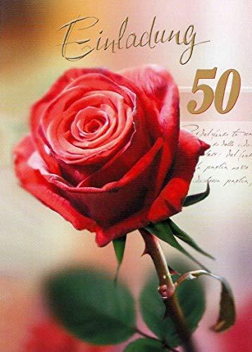 Einladungskarten 50. Geburtstag Frau Mann mit Innentext Motiv rote Rose 10 Klappkarten DIN A6 im Hochformat mit weißen Umschlägen im Set Geburtstagskarten Einladung 50 Geburtstag Mann Frau K97