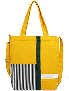 SODIAL Ins Wind Mesh Canvas Fashion Bag Korean Canvas Crossbody Bag Shoulder Bag Yellow