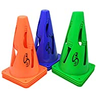 Lusum 9 Inch Football Training Safety Marker Cones 12 pack - Flexible Traffic Cones