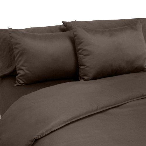 Veratex Made in The USA 100% Cotton Sateen 6-Piece 800 Thread Count Duvet Cover Set, Full, Espresso