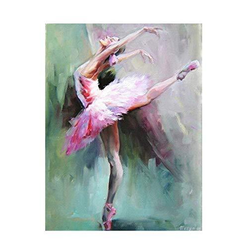 NIEMENGZHEN Leinwandmalerei Abstrakte Ballerina-Porträtmalerei auf Leinwandplakaten und -drucken Leinwandkunst-Wandbild für Wohnzimmer 60x90cm ohne Rahmen