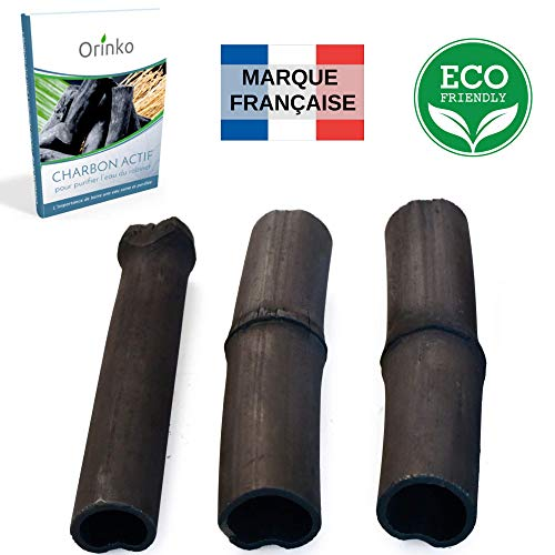 orinko Binchotan Bio 3X   Charbon Actif Binchotan de Bambou pour Purification d'eau en Carafe + E-Book [Satisfait ou Remboursé]