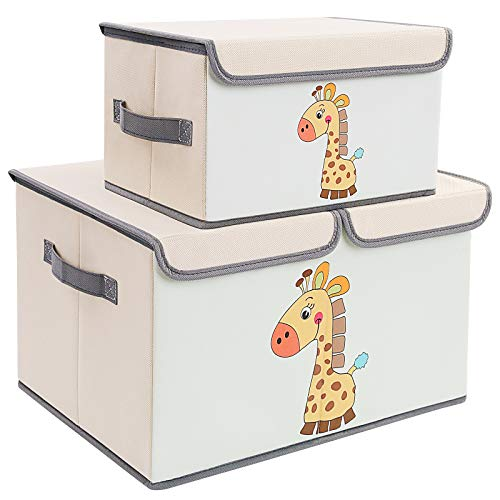 DIMJ Toy Chest with Lids, Kids Toy Bin 2 Packs Toy Storage Organizer for Boys, Girls, Nursery, Playroom, Closet, Living Room
