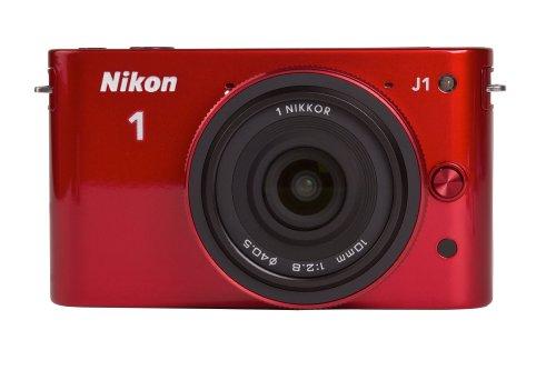Nikon 1 J1 Systemkamera (10 Megapixel, 7,5 cm (3 Zoll) Display) rot inkl. 1 NIKKOR 10 mm Pancake Objektiv