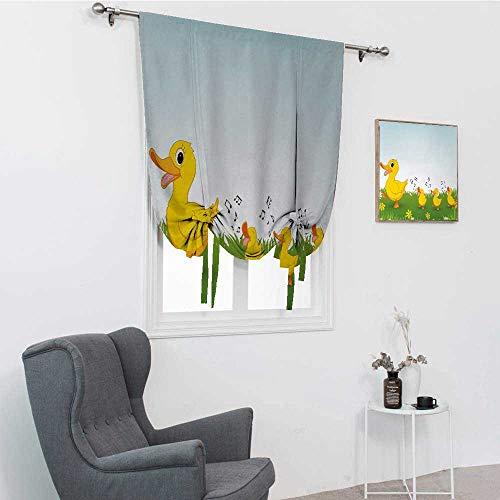 GugeABC Cortinas opacas de dibujos animados para dormitorio, diseño de pato madre y bebés caminando y cantando en el prado con flores, cortinas oscuras, mostaza y azul claro, 48 x 64 pulgadas
