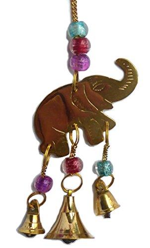 Klein Messing Elefant Windspiel mit Perlen und Glocken