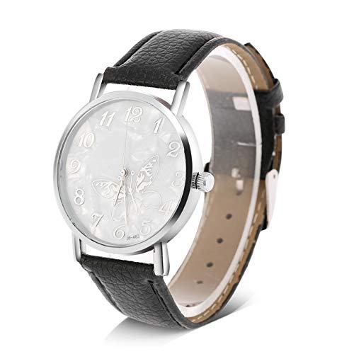Reloj analógico femenino, elegante reloj de cuarzo para mujer, con correa de cuero PU, placa de esfera con forma de mariposa, reloj de pulsera femenino, para mujer, novia, madre(Negro)