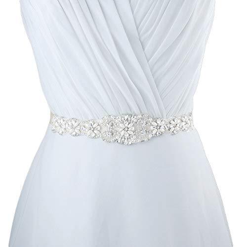 CHIC DIARY Damen Kristall Hochzeit schärpe Braut Gürtel Taillengürtel Haarband, Weiß, Einheitsgröße