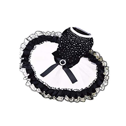 POPETPOP Vestido de Gato de Perro Vestido de Encaje Negro Elegante Falda...