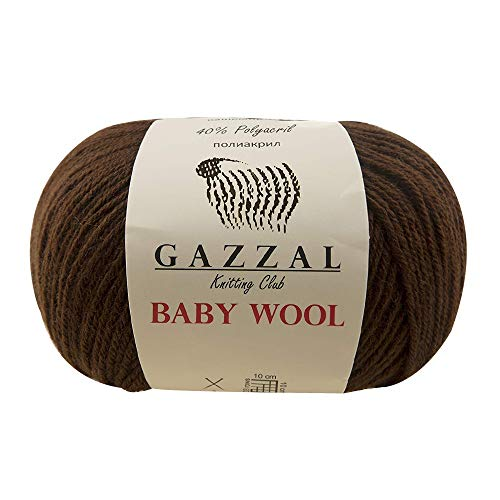 5 Pack - Gazzal Baby Wool 1.76 Oz (50g) / 191 Yards (175m) Fine Baby Yarn, 40% Lana Merino, 20% Cashmere Type Polyamide; (Brown - 807)