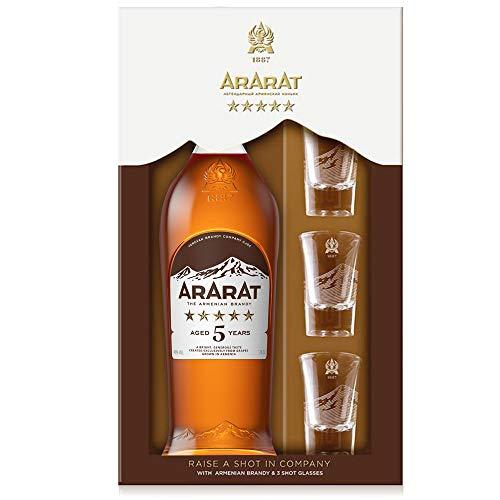 Ararat 5* NEW RANGE 5 Jahre alt 0,7 l + 3 Shotgläser_Geschenkbox