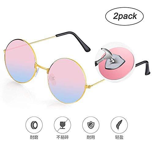 Zorara Hippie-Accessoires,2 Stück Hippie-Brille, Mehrfarbig, Einheitsgröße(Rosa)