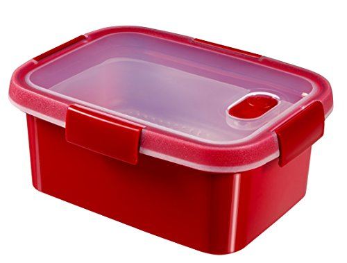 CURVER 232584Dampfgarer mit Mikrowelle, rechteckig, Kunststoff, rot, 21x 16x 9cm, 1,2l
