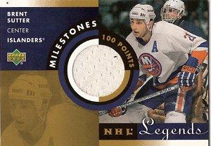 01-02 UD NHL Legends Milestones BRENT SUTTER Jersey