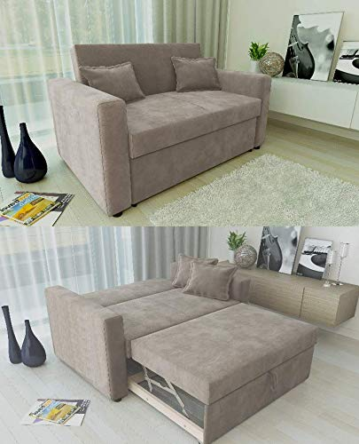 Ravena 2 Seater Sofabed in 4 Colours- Pull Out Drawer Sofa with Matching Cushions (Taupe)