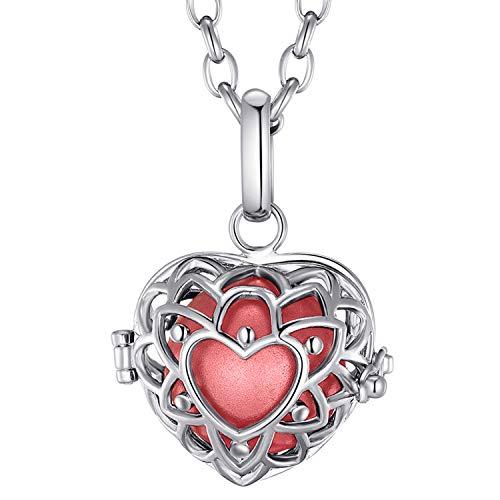 Morella® Damen Halskette Edelstahl 70 cm mit Herzform Anhänger und Klangkugel rot Ø 16 mm in Schmuckbeutel