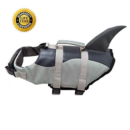 Pet Life Jacke Rettungsweste für Hunde Lifesaver Sicherheit Reflektierende Weste Größe verstellbar Dog Lifejacket für Schwimmen, Surfen, Jagd (XL, grau, Rettungsweste für Hund)