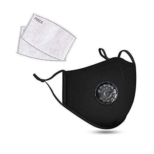 bloatboy Algodón Reutilizable a Prueba de Polvo Unisex 𝐌𝐚𝐬𝐜𝐚𝐫𝐢𝐥𝐥𝐚 con filtros para Ciclismo Campamento Polvo Viento Protección Solar, Aire Libre, Deportes (Negro)