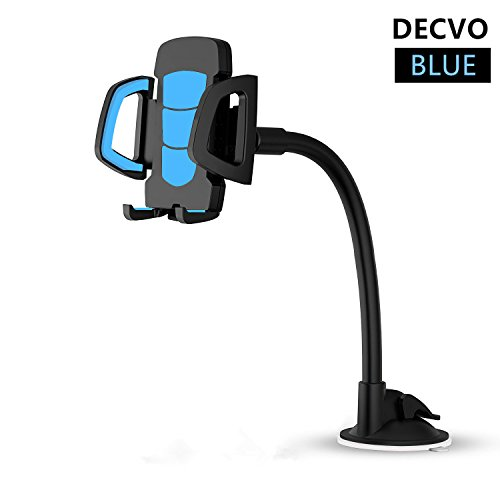 DECVO Car Windshield Phone Mount Long Arm 360° Adjustable Universal Phone Holder Strong Adhesive Suction Cup Cell Phone Holder Compatible with iPhone 5/6/7/8/X, Samsung Galaxy, LG, GPS More (Blue)