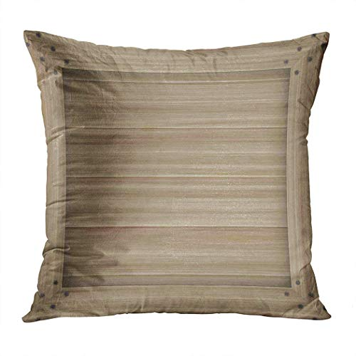W-wishes Throw Pillow Cover Square 18 X 18 Inch Wooden Wood Bright Brown Natural Walnut Cushion Home Decor Pillowcase