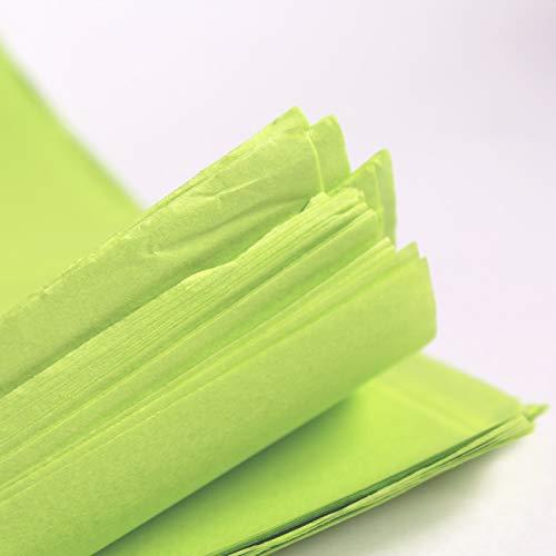 25 hojas de papel de seda verde lima, papel de seda libre de ácidos, papel de seda artístico, papel de envoltura de regalo, tejido para decoraciones