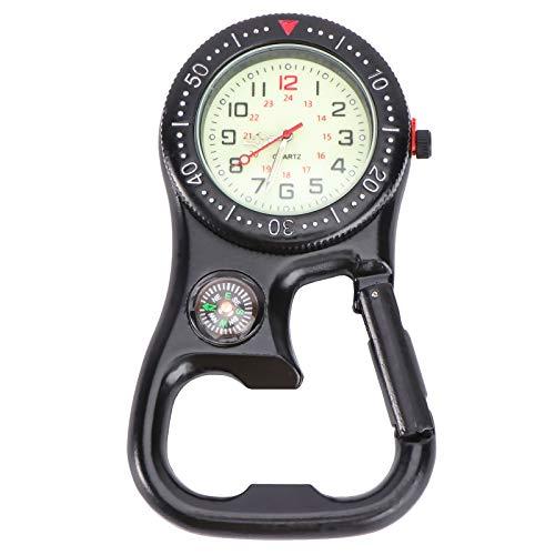 Forniture per orologi - Moschettone a clip Viso luminoso Backpacker Orologio FOB con bussola apribottiglie per attrezzatura sportiva da alpinismo Nero