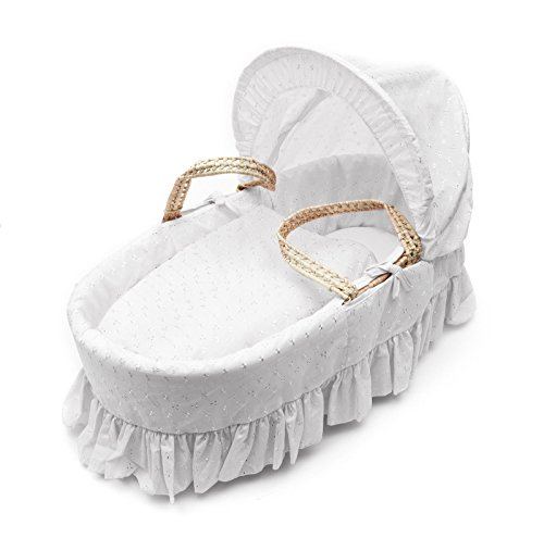 Juego de fundas de cama de lujo british made broderie anglaise moses basket. Incluye canasta protector / forro