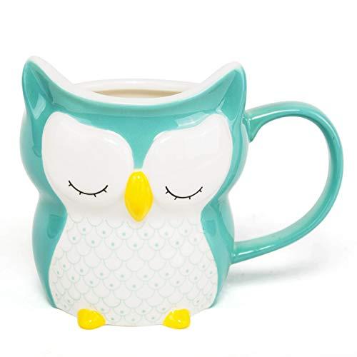 el & groove 3D Porzellan Eule in türkis, Kaffeetasse 250 ml (340 ml randvoll), Tee-Tasse aus Porzellan, Tasse für Morgenmuffel, Owl, Schlafmütze Eulen Deko, Geschenk Eule, Porzellan Eule, Geschenkidee