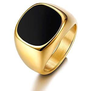 sailimue Edelstahl Ringe für Herren Männer Band Ring Punk Style Hochzeit Engagement Ringe DE67 Gold-Tone