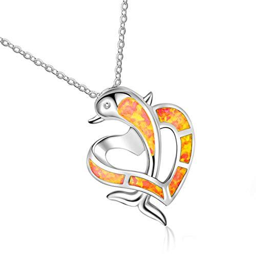 Collares Colgante Joyas Amante De La Moda Regalo Animal Collar Colgante Azul Imitación Ópalo Delfín Corazón Colgantes Collares para Mujeres Encantos Joyería Boho-Rojo