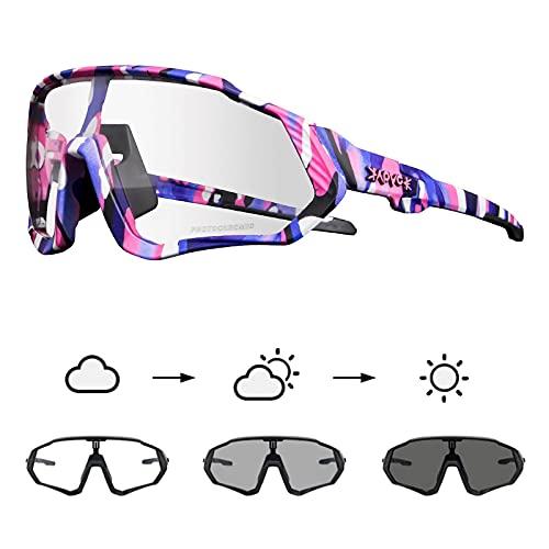 KAPVOE Gafas de Ciclismo Fotocromáticas con TR90 Gafas de Sol Deportivas Mujeres Hombres Running Transparente MTB Accesorios de Bicicleta 38