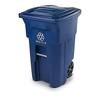 Toter 025564-R1BLU Residential Heavy Duty 2-Wheeled Recycling Can with Attached Lid 64-Gallon Blue