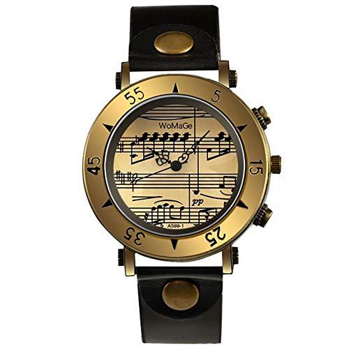 Rio Grande 楽譜 音符 音楽 ミュージック 文字盤 デザイン レザー バンド カジュアル ウォッチ 腕 時計 レディース (ブラック) ZM-WATCH5604-BK
