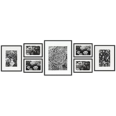 Golden State Art Metal Wall Photo Frame Collection, Set of 7, Aluminum Black Photo Frame with Ivory Color Mat & Real Glass (Black)