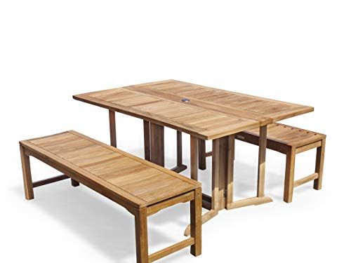 """Windsor's Genuine Premium Grade A Teak 59"""" x 31"""" Rectangular Drop Leaf Table w/two 59"""" Backless Benches...Seats 6 Adults, World's Best Outdoor Furniture, Teak Lasts a Lifetime!"""