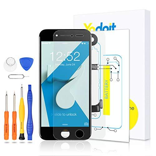 Yodoit Komplett Display für iPhone 7 LCD Bildschirm vormontiert Schwarz, Digitizer Montage Glas Touchscreen mit Frontkamera Näherungssensor Hörmuschel Reparaturset Ersatzbildschirm + Werkzeuge